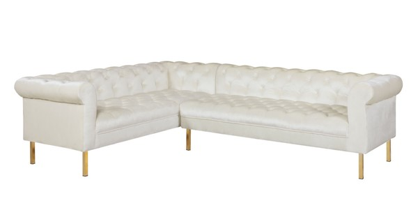 Chic Home Giovanni Beige Velvet Button Tufted Left Facing Sectional Sofa CHIC-FSA9205-CE