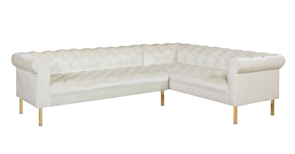 Chic Home Giovanni Beige Velvet Button Tufted Right Facing Sectional Sofa CHIC-FSA9206-CE