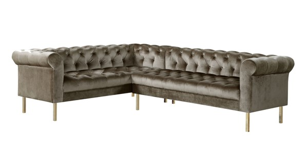 Chic Home Giovanni Taupe Velvet Button Tufted Left Facing Sectional Sofa CHIC-FSA9207-CE