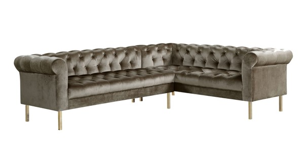 Chic Home Giovanni Taupe Velvet Button Tufted Right Facing Sectional Sofa CHIC-FSA9208-CE