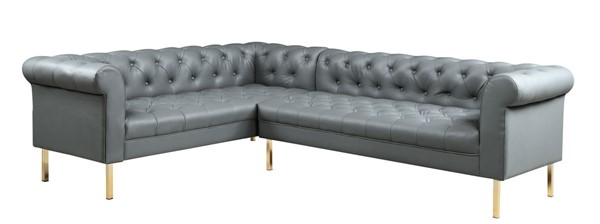 Chic Home Giovanni Grey PU Button Tufted Left Facing Sectional Sofa CHIC-FSA9224-CE