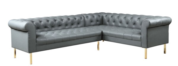 Chic Home Giovanni Grey PU Button Tufted Right Facing Sectional Sofa CHIC-FSA9225-CE