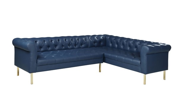 Chic Home Giovanni Navy PU Button Tufted Right Facing Sectional Sofa CHIC-FSA9227-CE