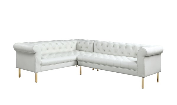 Chic Home Giovanni Cream PU Button Tufted Left Facing Sectional Sofa CHIC-FSA9228-CE