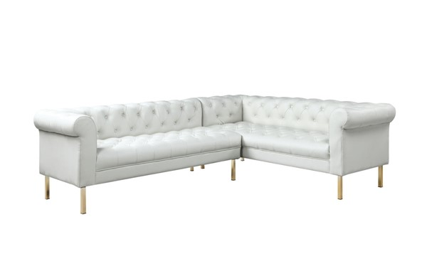 Chic Home Giovanni Cream PU Button Tufted Right Facing Sectional Sofa CHIC-FSA9229-CE