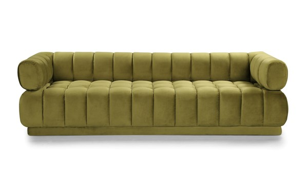 Chic Home Quebec Green Velvet Tufted Seat Sofa CHIC-FSA9235-CE