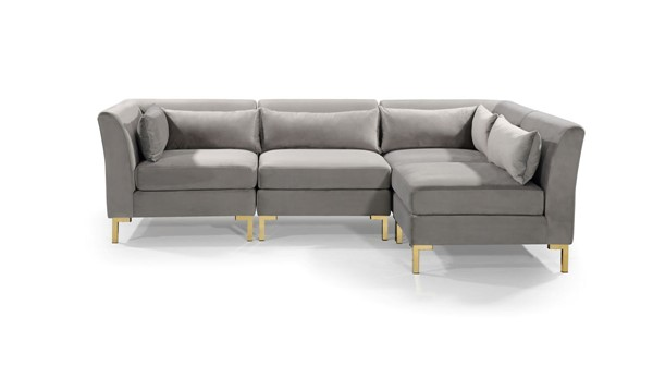 Chic Home Girardi Grey Velvet Modular Chaise Sectional Sofa with 6 Pillows CHIC-FSA9258-CE