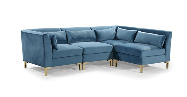 Chic Home Girardi Teal Velvet Modular Chaise Sectional Sofa with 6 Pillows CHIC-FSA9259-CE