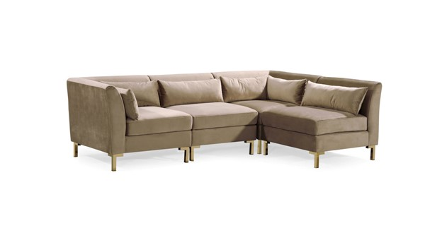 Chic Home Girardi Taupe Velvet Modular Chaise Sectional Sofa with 6 Pillows CHIC-FSA9260-CE