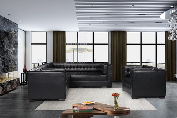 Chic Home Lorenzo Black PU Left Facing Sectional Sofa and Accent Club Chair Set CHIC-FCC927-LR-S4