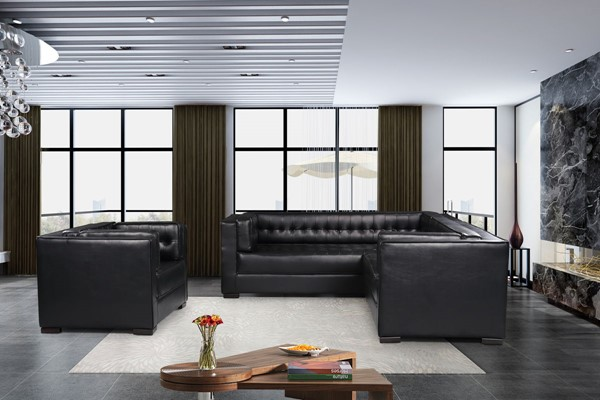 Chic Home Lorenzo Black PU Right Facing Sectional Sofa and Accent Club Chair Set CHIC-FCC927-LR-S8