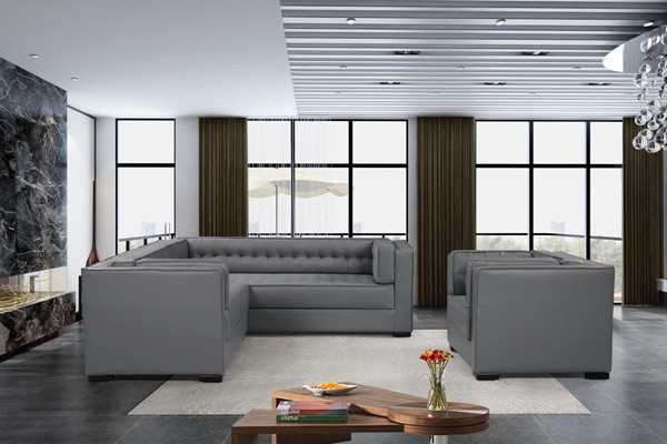 Chic Home Lorenzo Grey PU Left Facing Sectional Sofa and Accent Club Chair Set CHIC-FCC927-LR-S3