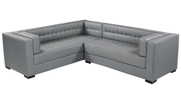 Chic Home Lorenzo Grey PU Tufted L Shape Right Facing Sectional Sofa CHIC-FSA9274-CE