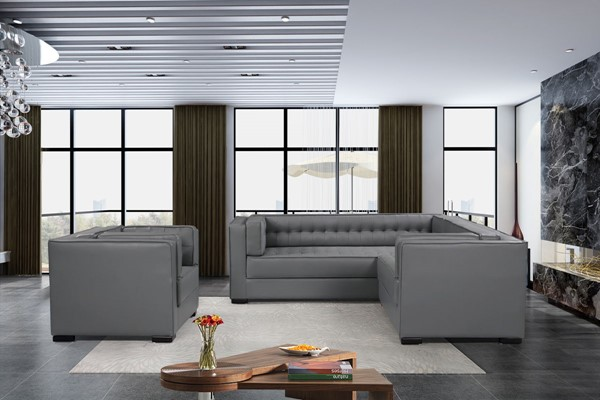 Chic Home Lorenzo Grey PU Right Facing Sectional Sofa and Accent Club Chair Set CHIC-FCC927-LR-S7