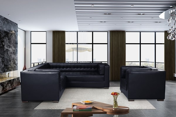 Chic Home Lorenzo Navy PU Left Facing Sectional Sofa and Accent Club Chair Set CHIC-FCC927-LR-S2