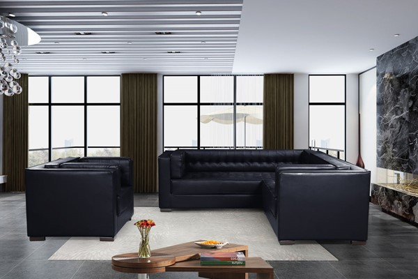 Chic Home Lorenzo Navy PU Right Facing Sectional Sofa and Accent Club Chair Set CHIC-FCC927-LR-S6