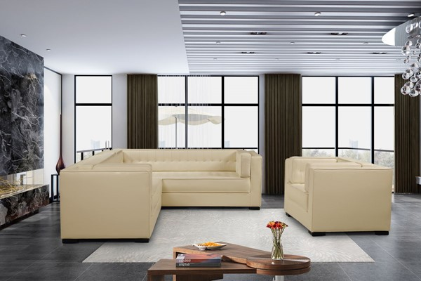 Chic Home Lorenzo Cream PU Left Facing Sectional Sofa and Accent Club Chair Set CHIC-FCC927-LR-S1