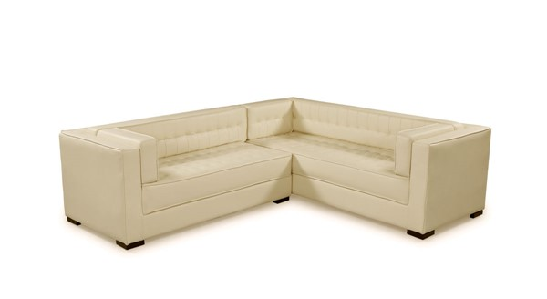 Chic Home Lorenzo Cream PU Tufted L Shape Left Facing Sectional Sofa CHIC-FSA9277-CE
