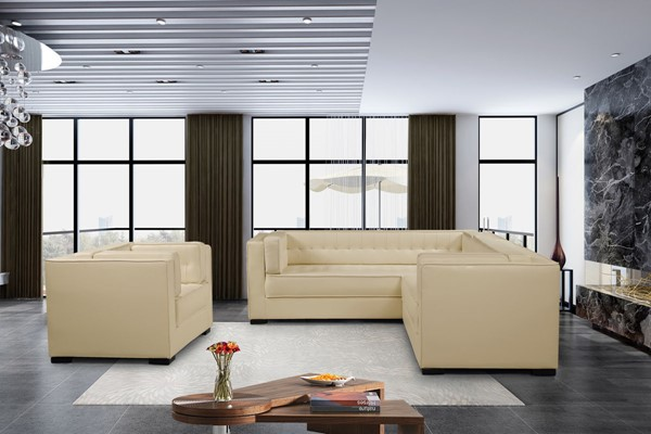 Chic Home Lorenzo Cream PU Right Facing Sectional Sofa and Accent Club Chair Set CHIC-FCC927-LR-S5