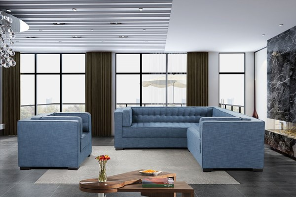 Chic Home Lorenzo Indigo Fabric Right Facing Sectional Sofa and Accent Club Chair Set CHIC-FCC928-LR-S8