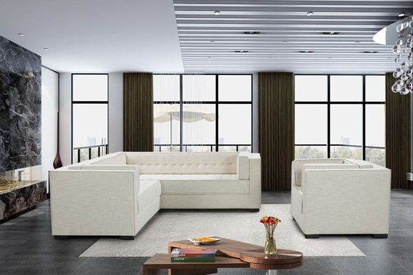 Chic Home Lorenzo Ecru Fabric Left Facing Sectional Sofa and Accent Club Chair Set CHIC-FCC928-LR-S3