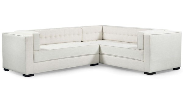 Chic Home Lorenzo Ecru Fabric Tufted L Shape Left Facing Sectional Sofa CHIC-FSA9285-CE