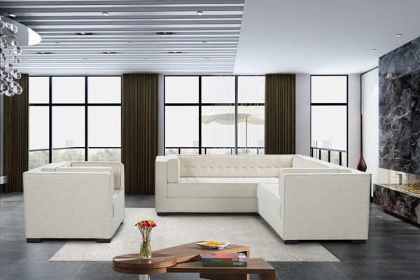 Chic Home Lorenzo Ecru Fabric Right Facing Sectional Sofa and Accent Club Chair Set CHIC-FCC928-LR-S7