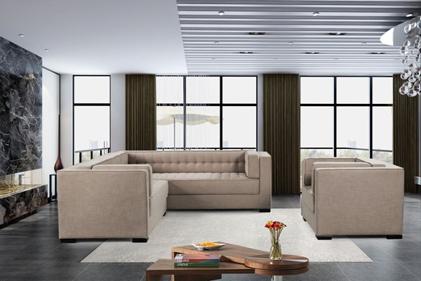 Chic Home Lorenzo Sand Fabric Left Facing Sectional Sofa and Accent Club Chair Set CHIC-FCC928-LR-S2