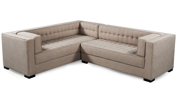 Chic Home Lorenzo Sand Fabric Tufted L Shape Right Facing Sectional Sofa CHIC-FSA9288-CE
