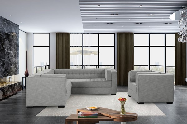 Chic Home Lorenzo Platinum Fabric Left Facing Sectional Sofa and Accent Club Chair Set CHIC-FCC928-LR-S1
