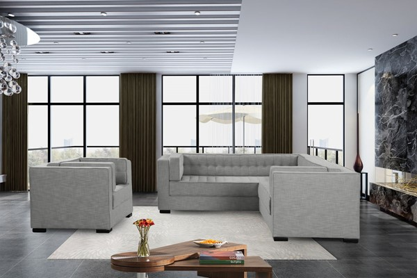 Chic Home Lorenzo Platinum Fabric Right Facing Sectional Sofa and Accent Club Chair Set CHIC-FCC928-LR-S5