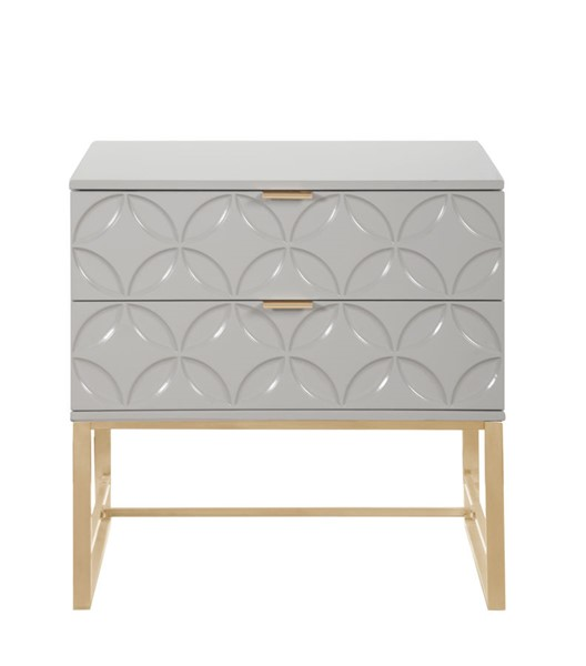 Chic Home Mantau Modern Grey 2 Drawers Night Stand Side Table CHIC-FST2829-CE