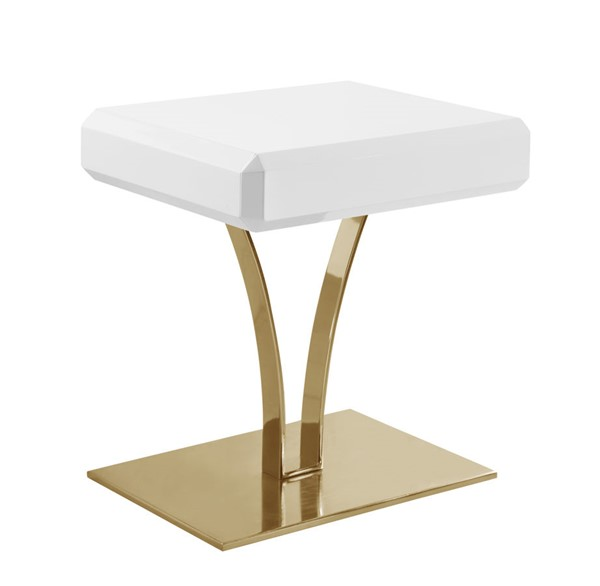 Chic Home Rochelle White Self Closing Drawer Night Stand Side Table CHIC-FST2943-CE