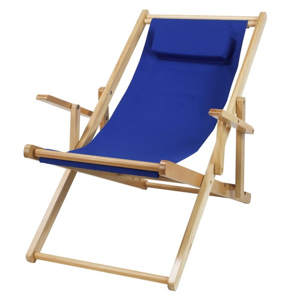 Casual Home Natural Royal Blue Fabric Sling Chair CHOM-114-00-011-13