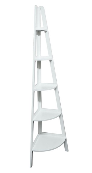 Casual Home White 5 Shelves Corner Ladder Bookcase CHOM-176-31