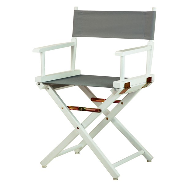 Casual Home White Gray Canvas 18 Inch Directors Chair CHOM-200-01-021-18