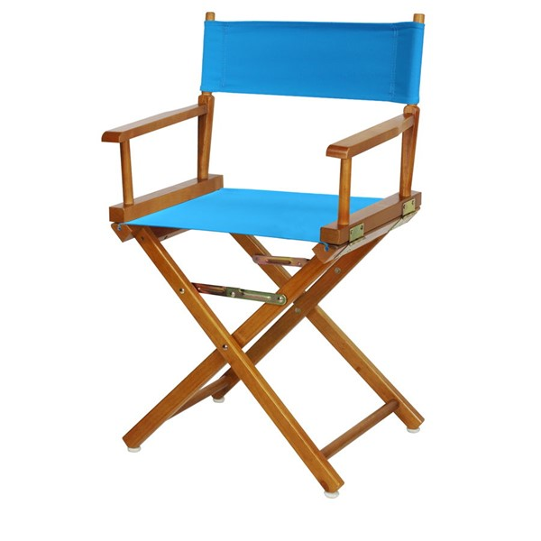 Casual Home Honey Oak Turquoise Canvas 18 Inch Directors Chair CHOM-200-55-021-27
