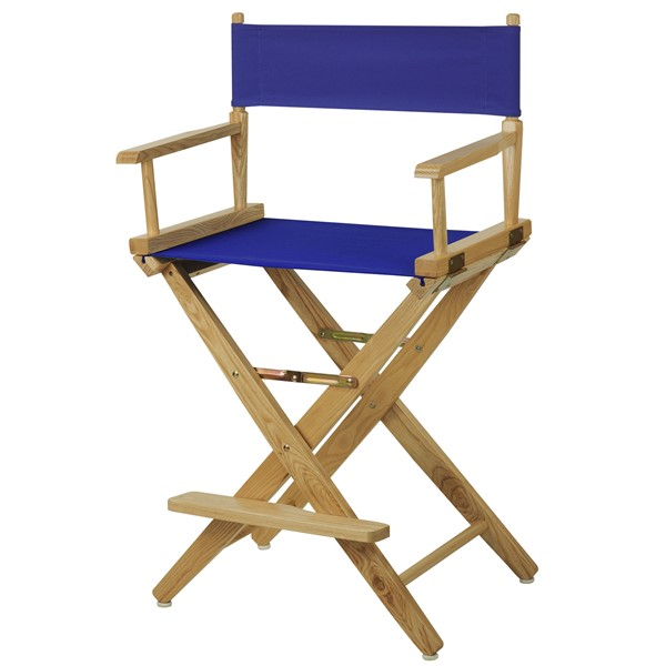 Casual Home Natural Royal Blue Extra Wide Premium 24 Inch Directors Chair CHOM-206-20-032-13
