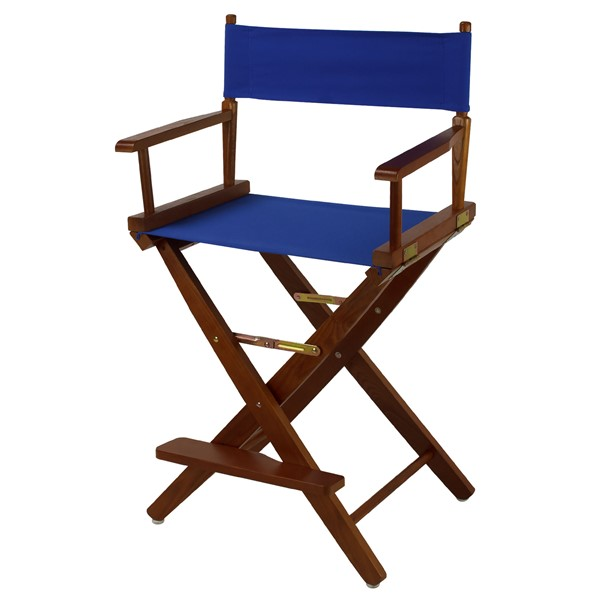 Casual Home Oak Royal Blue Extra Wide Premium 24 Inch Directors Chair CHOM-206-24-032-13