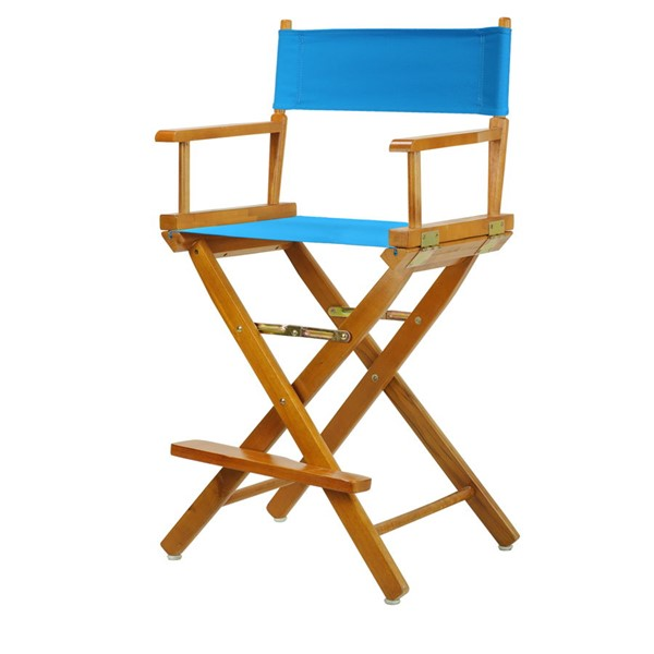 Casual Home Honey Oak Turquoise Canvas 24 Inch Directors Chair CHOM-220-05-021-27