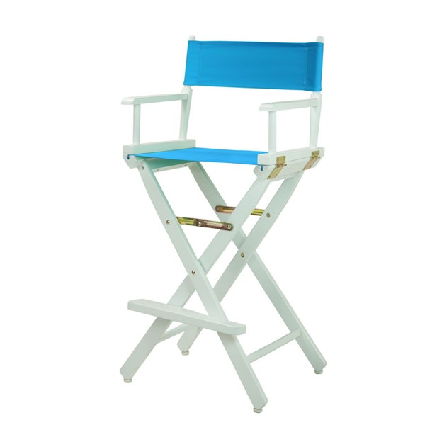Casual Home White Turquoise Canvas 30 Inch Directors Chair CHOM-230-01-021-27