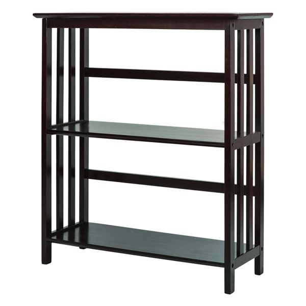 Casual Home Mission Espresso Solid Wood 3 Shelves Bookcase CHOM-310-83