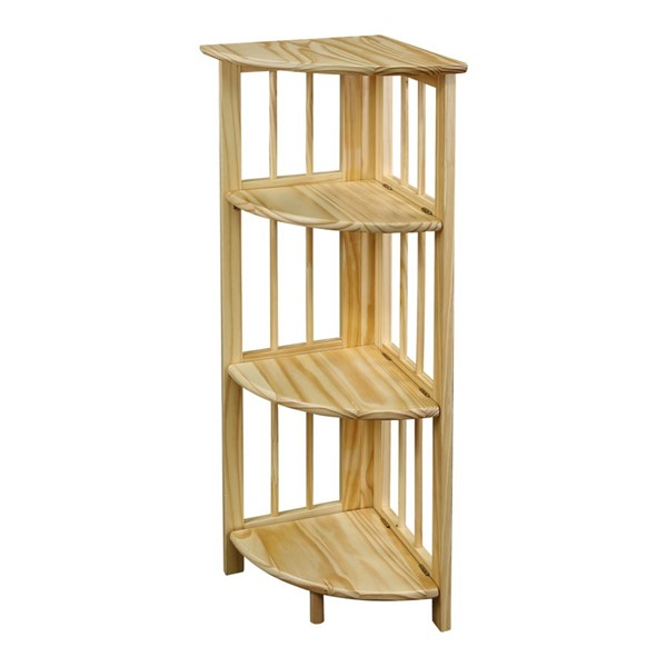 Casual Home Natural 4 Shelves Corner Folding Bookcase CHOM-315-10