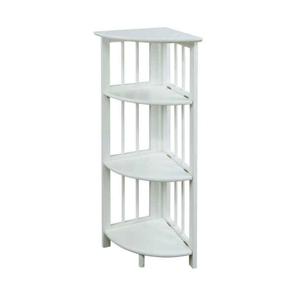 Casual Home White 4 Shelves Corner Folding Bookcase CHOM-315-11