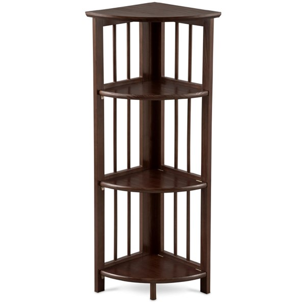 Casual Home Truffle Brown 4 Shelves Corner Folding Bookcase CHOM-315-128