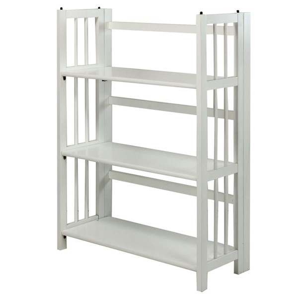 Casual Home White 3 Shelves Folding Stackable Bookcase CHOM-330-21