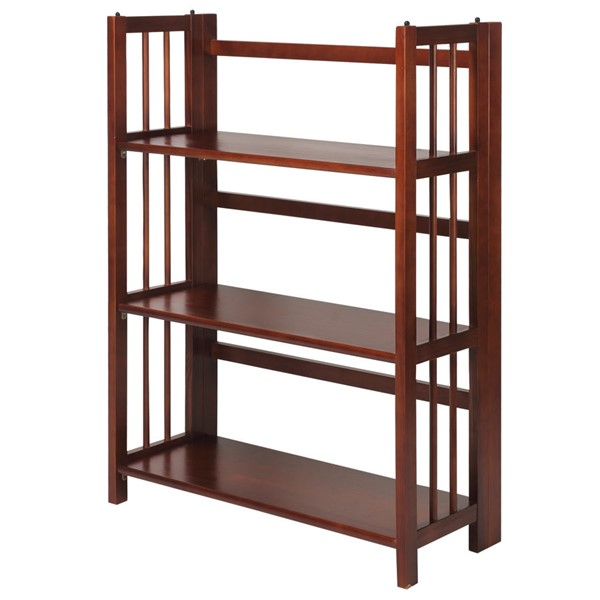 Casual Home Walnut 3 Shelves Folding Stackable Bookcase CHOM-330-23
