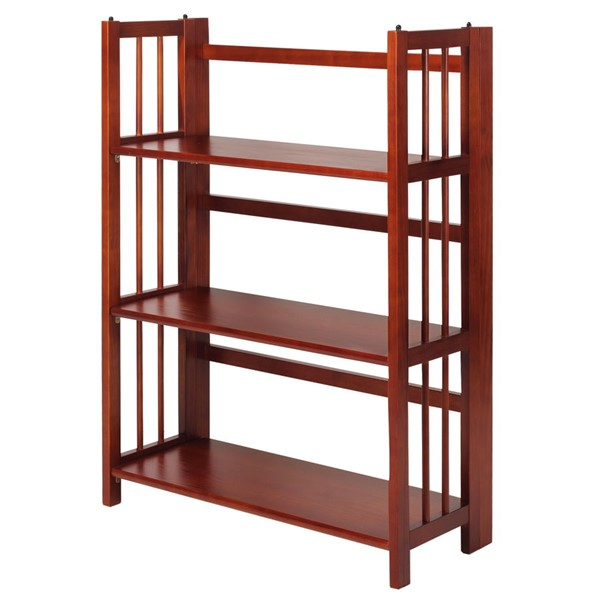 Casual Home Mahogany 3 Shelves Folding Stackable Bookcase CHOM-330-29