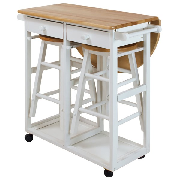 Casual Home White 3pc Breakfast Cart Table CHOM-355-21