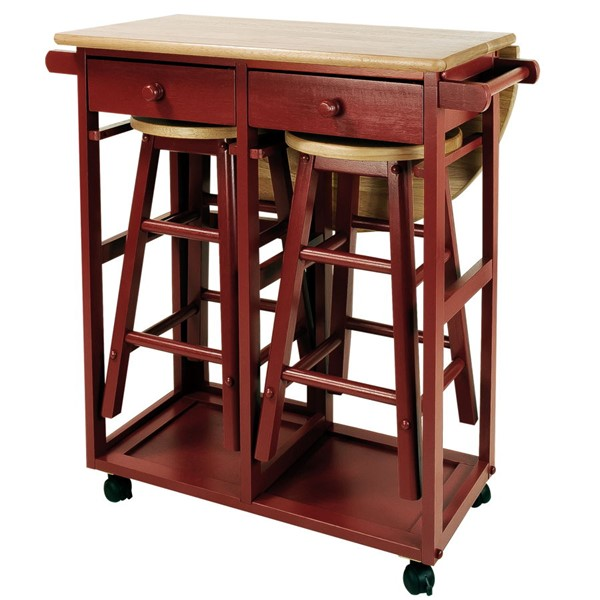 Casual Home Red 3pc Breakfast Cart Table CHOM-355-29